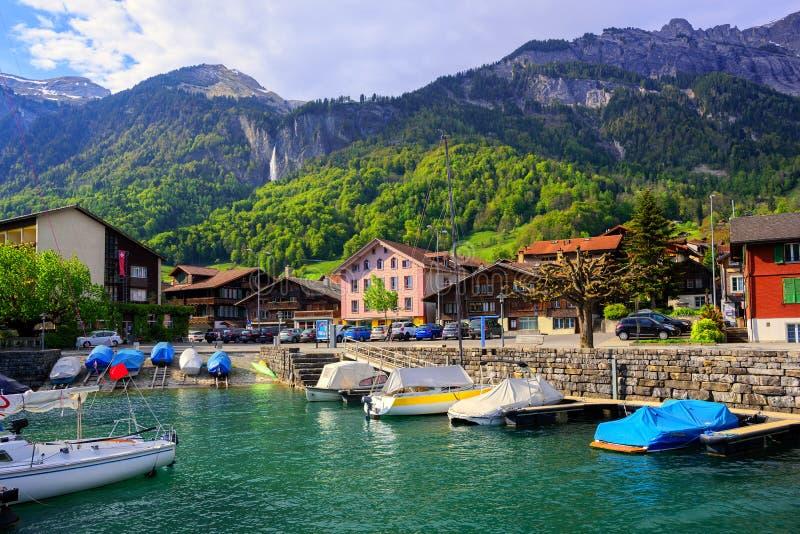 Small swiss town on Lake Interlaken, Switzerland stock image