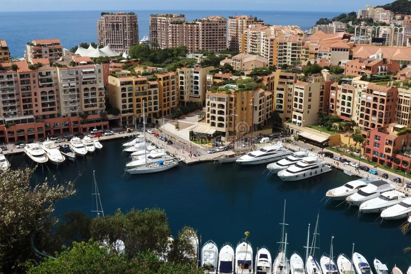 Luxury yachts along Mediterranean in the Monaco harbour stock photos