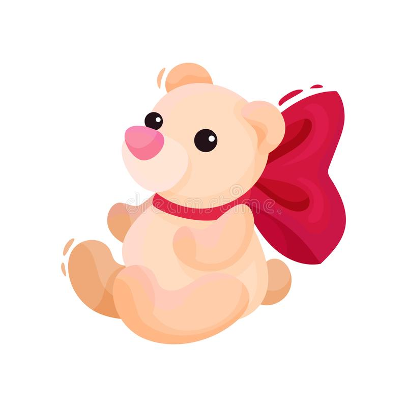 Small teddy bear with big pink bow on neck. Holiday present. Cute plush toy. Valentines day theme. Flat vector icon vector illustration