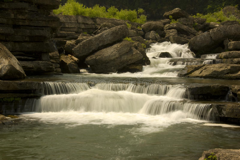 Small Tennessee Mountain River With Falls Stock Photography