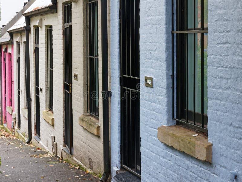 Small Terrace Houses, Sydney, Australia. Small single level terrace, or row, painted brick houses in Darlinghurst, Sydney, NSW, Australia royalty free stock photos