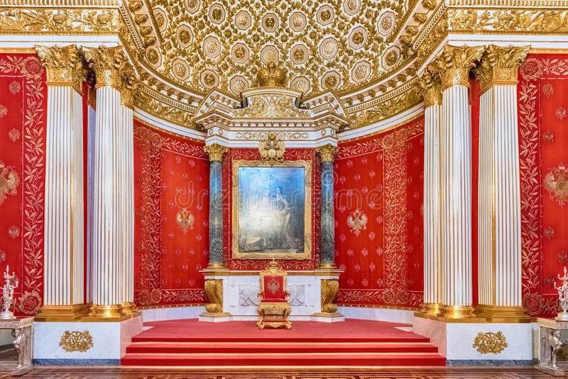 Small Throne Hall, Hermitage Museum, St. Petersburg, Russia. ST. PETERSBURG, RUSSIA - AUGUST 27: Small Throne Hall, interior of the State Hermitage (Winter stock photo