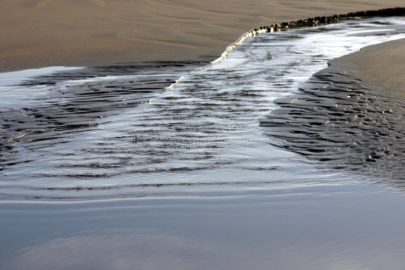 Small tidal flow on the beach royalty free stock photos
