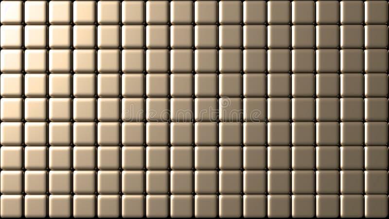 Small tiles wall golden background stock illustration