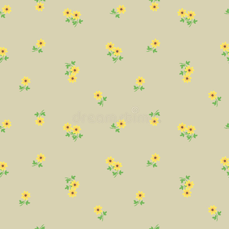 Small tiny yellow flowers with leaves scattered on the beige background. Cute ditsy liberty floral vintage seamless pattern, backg stock illustration