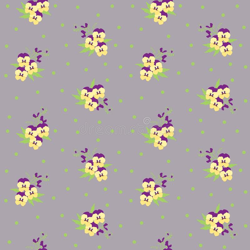 Small tiny yellow and violet pansy flowers bouquets scattered on a dotted background. Ditsy, liberty floral seamless stock illustration