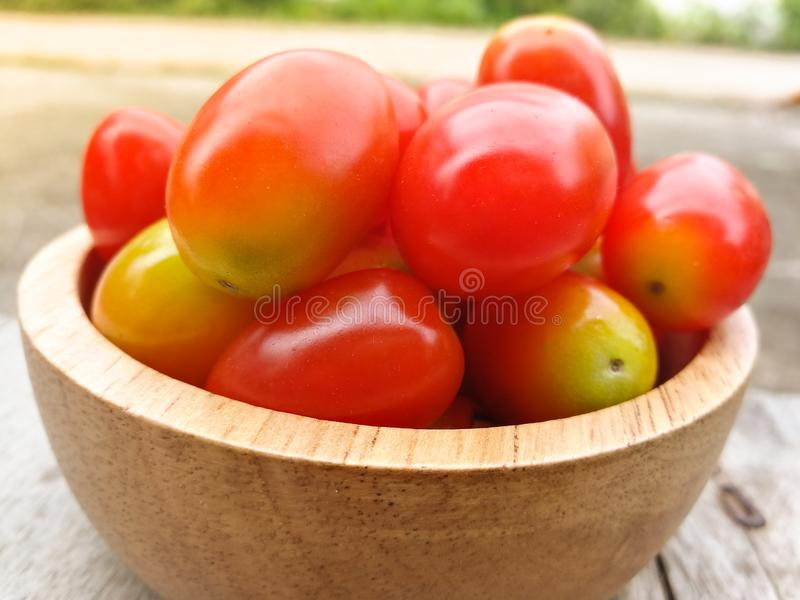 Small tomato. Red small tomato in wood cup stock photo