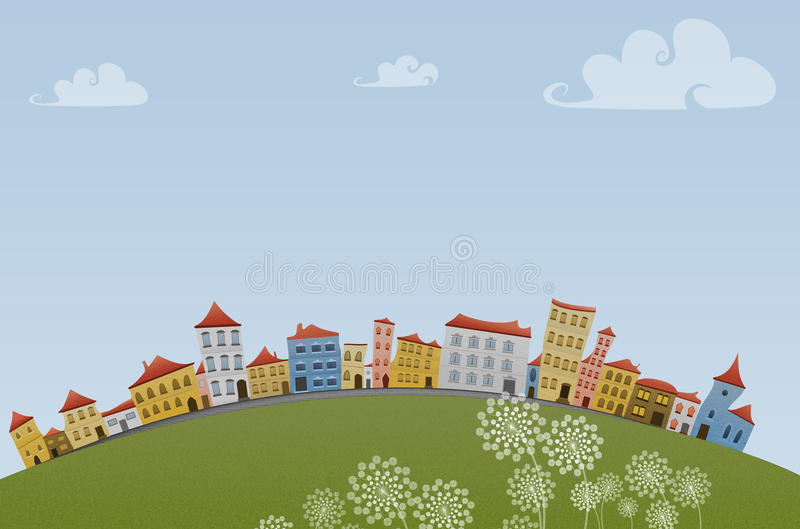 Download Small Town stock illustration. Illustration of clouds - 22069066