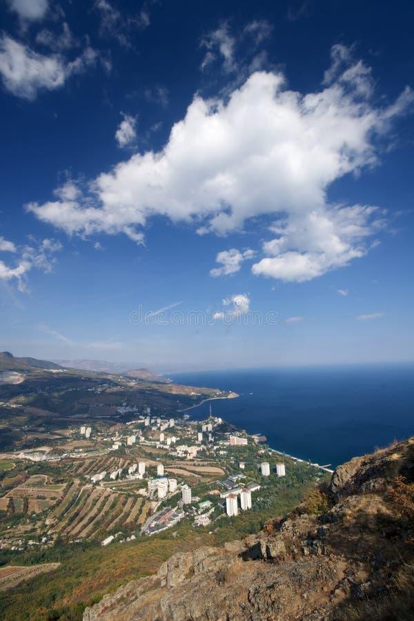Small town on the Black Sea coast, Crimea, Ukraine stock photos