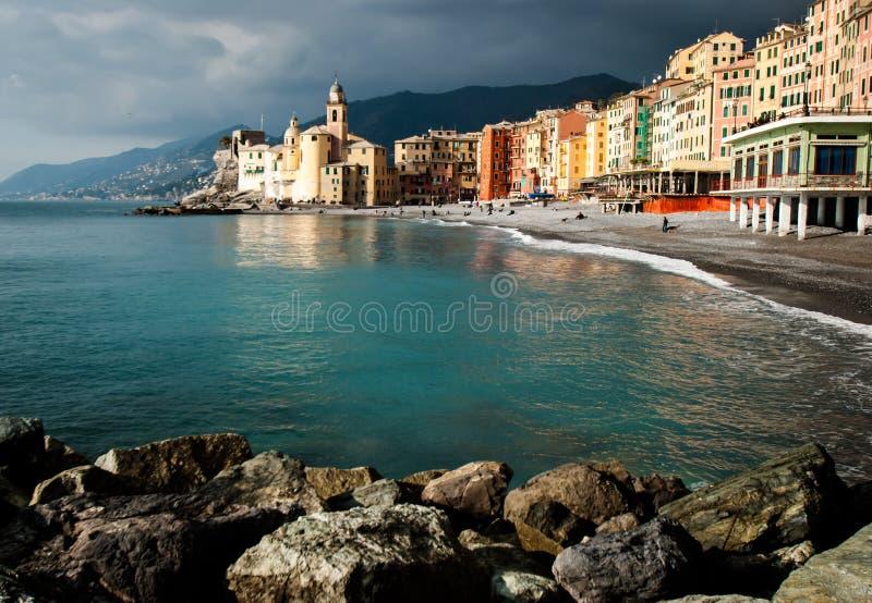 Small town camogli in genoa liguria. View of small town camogli in genoa liguria royalty free stock photo