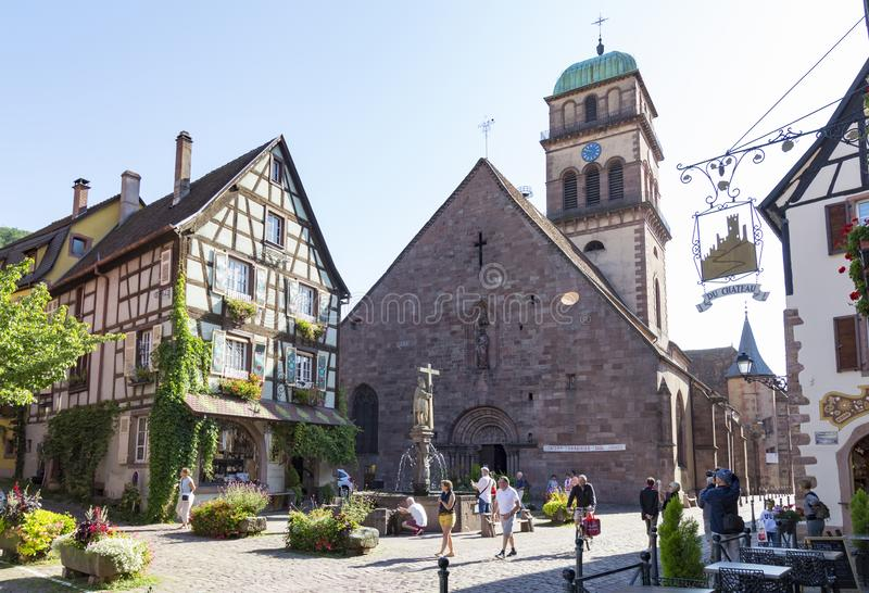 Old town of medieval village Kaysersberg. Alsace Wine Route. France stock images