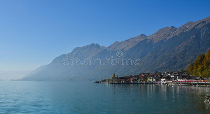 Small town on the lake side of Brienz, Switzerland stock images