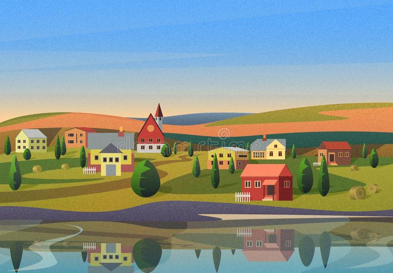Small town landscape with houses on shore of river with hills under blue morning sunsrise sky on background with film stock images