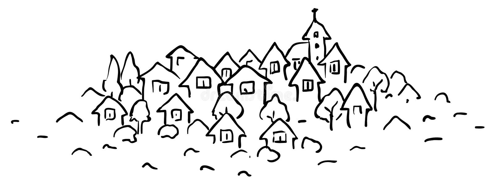 Small Town Line Drawing. Small town stylized cartoon line drawing, horizontal, vector illustration vector illustration