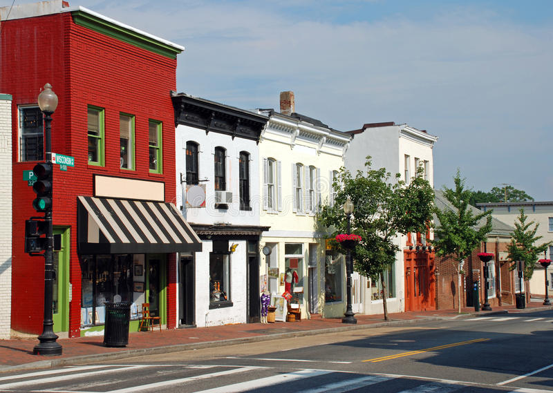 Download Small Town Main Street 2 stock image. Image of facade - 15054009