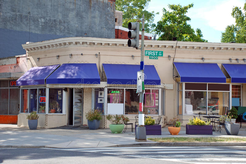 Small Town Main Street. With awnings and signs stock image