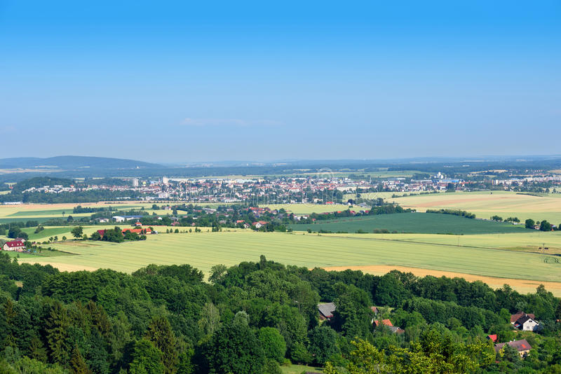Small town in the middle of fields and woods royalty free stock photo