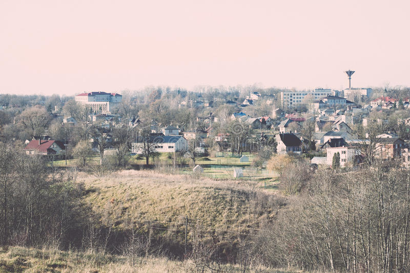Small town panoramic view from above in the autumn. Vintage. stock photos