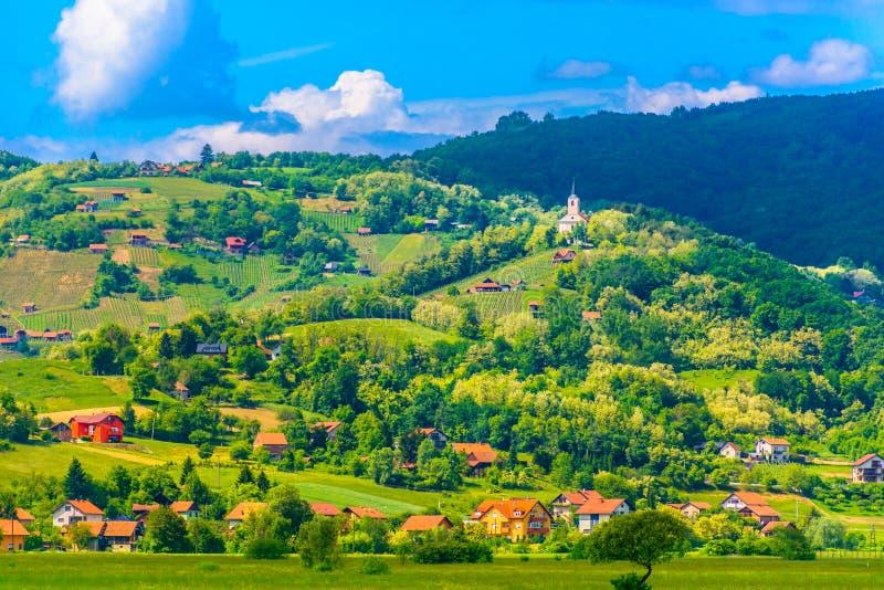 Small town Pregrada in Croatia, Zagorje region. Scenic view at amazing landscape in Pregrada, small town in Zagorje region, Croatia royalty free stock images
