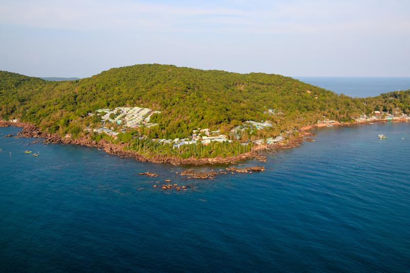Small town on the rocky coast of the island. Small town rocky coast island stock photos