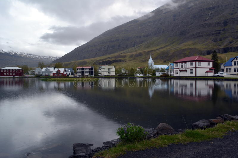 Small town of Seydisfjörður on the shore of the lake in the west of Iceland stock photo