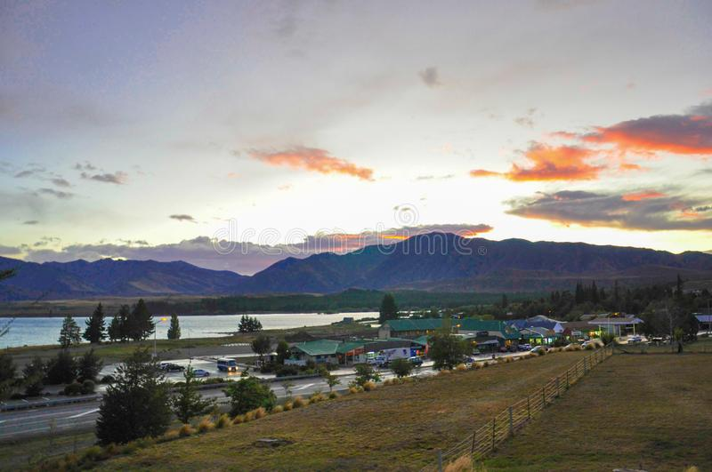 The small town of tekapo, New Zealand, at sunset royalty free stock photo