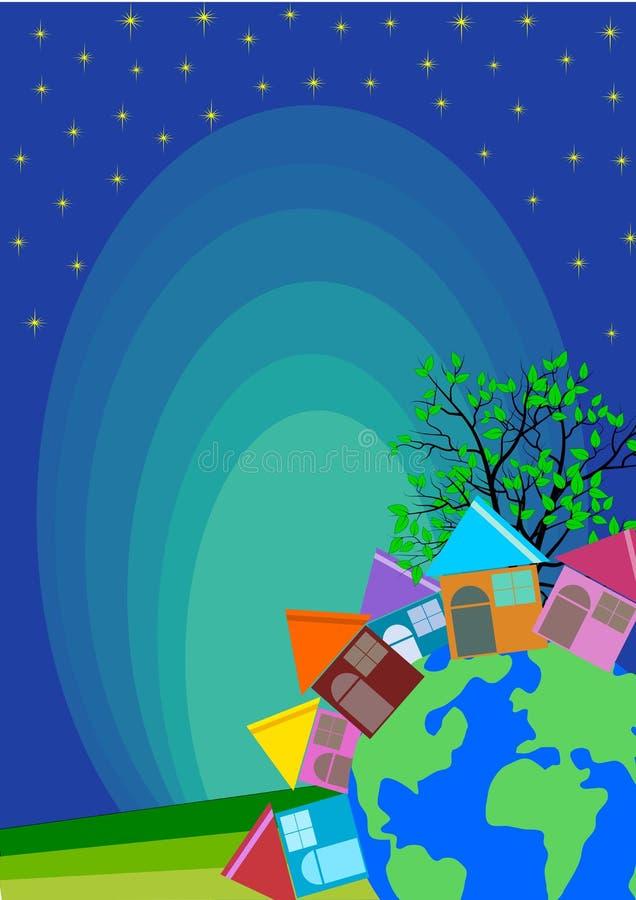 Small Town Village Skyline. Vector full color stock illustration