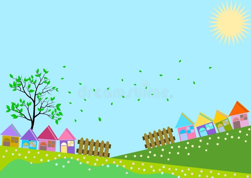 Small Town Village Skyline royalty free illustration
