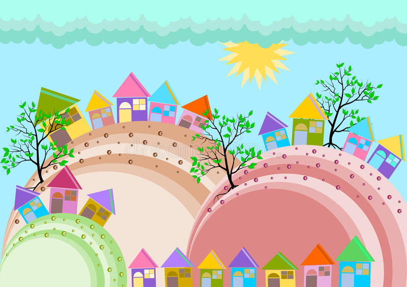 Small Town Village Skyline. Vector full color royalty free illustration