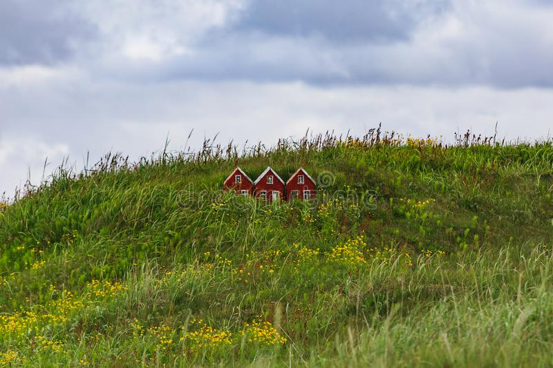 Small toy house in iceland land of the elves and trolls. Small toy elf house in iceland land of the elves and trolls stock photography