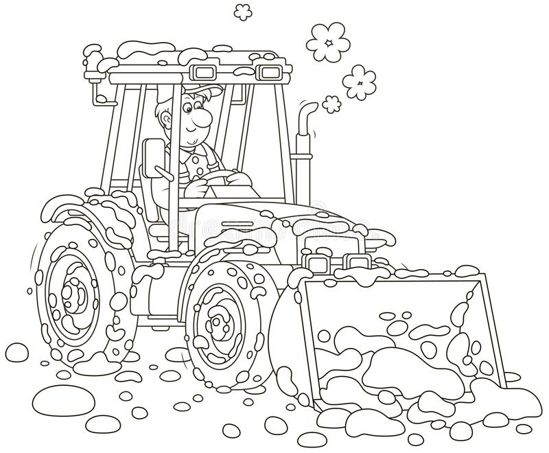 Small tractor grader cleaning snow stock illustration