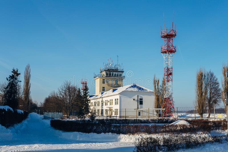Small traffic control tower in provincial airport stock image