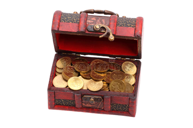 Small treasure chest of gold coins royalty free stock photography