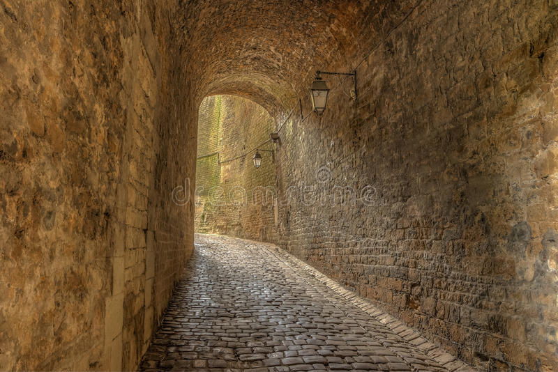 Small tunnel leading to the access of the Sedan Castle stock photo