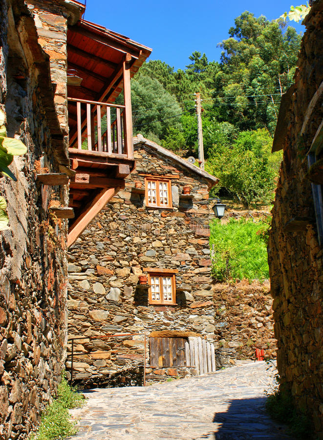 Small typical mountain village of schist royalty free stock images