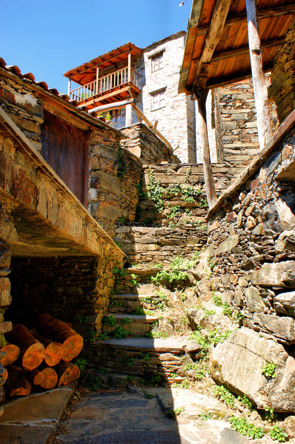 Small typical mountain village of schist royalty free stock photo