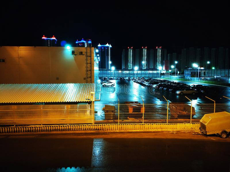 A small urban landscape on the car park. Night stock photography