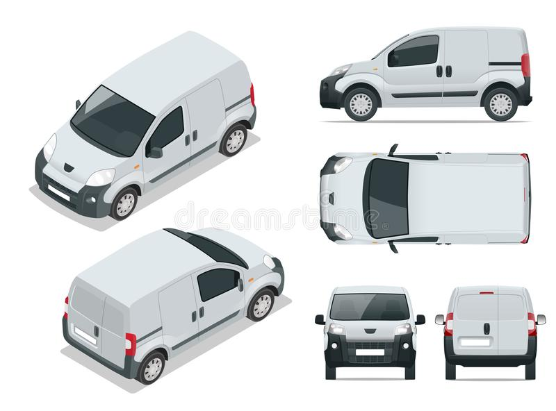 Small Van Car. Isolated car, template for car branding and advertising. stock illustration