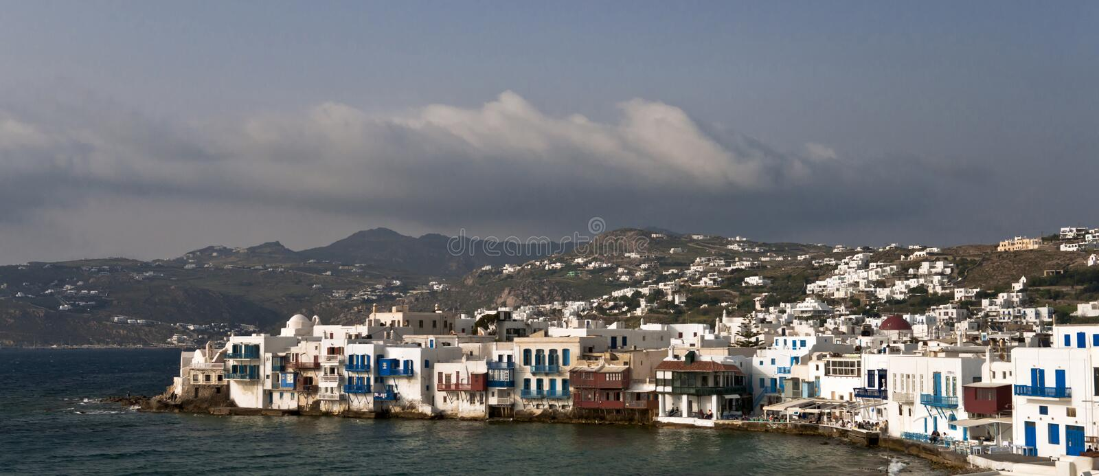 Small Venice houses. Mykonos view with Small Venice houses stock photography