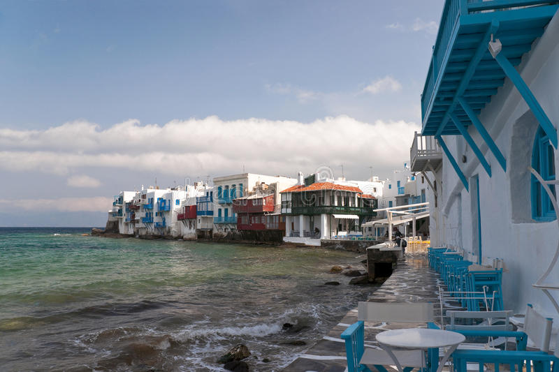 Small Venice houses and cafe. Mykonos view with Small Venice houses and cafe stock image