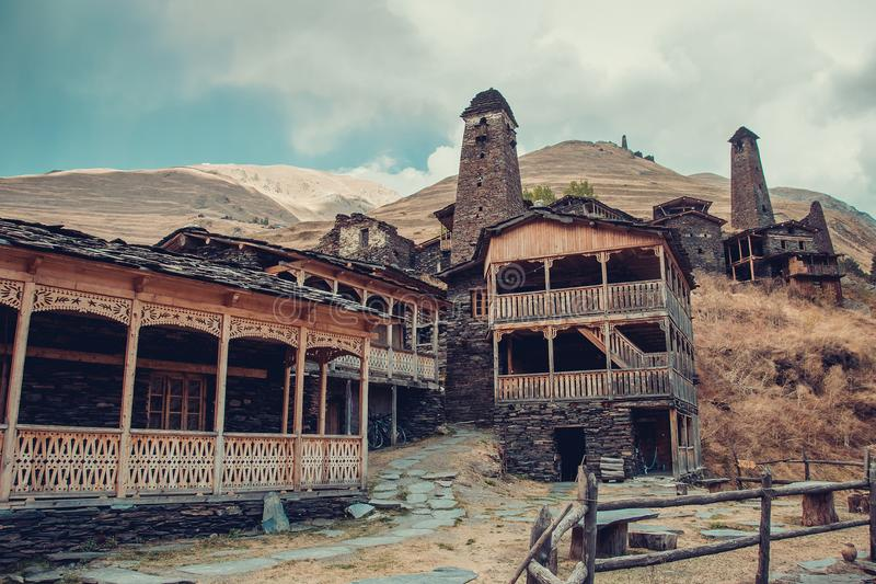 Small village Dartlo with traditional stone buildings and defensive towers in Tusheti. Adventure holiday. Travel to Georgia. Green. Ecology tourism. Eco royalty free stock photography