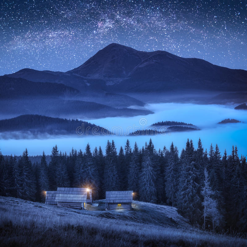 Download A Small Village On The Edge Of The Forest Stock Image - Image of hope, astronomy: 99193173