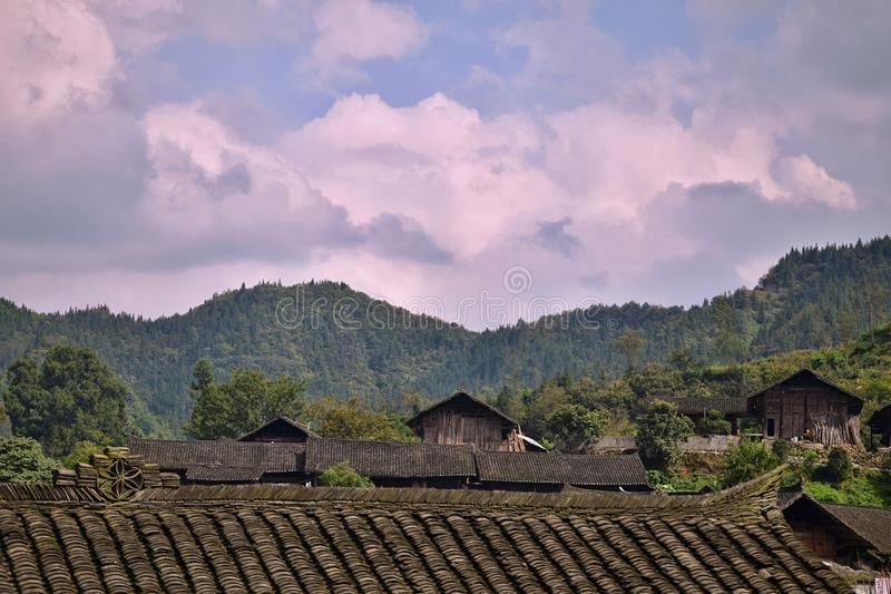 A small village of ethnic minority Miao hidden in the middle of nowhere, Hunan province, China. royalty free stock photos