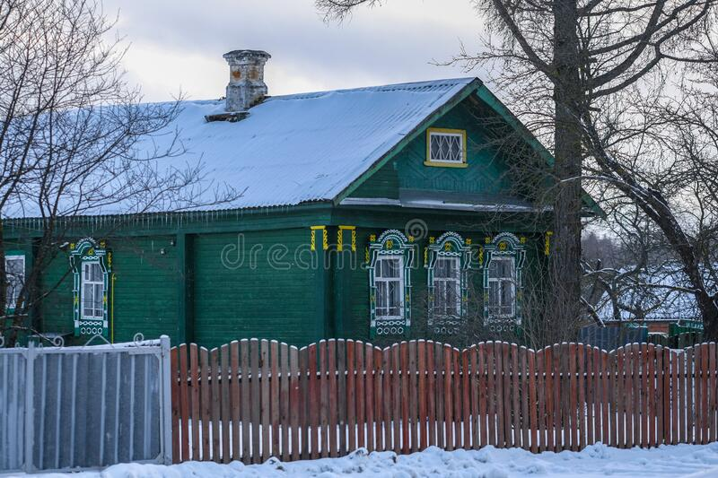 Small village house in Karelia. In winter royalty free stock photography