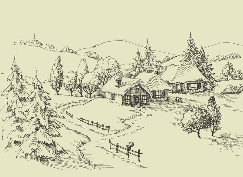Small village idyllic landscape. Beautiful valley sketched panorama vector illustration