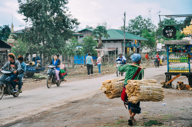 A small village at Inle Lake. royalty free stock photography