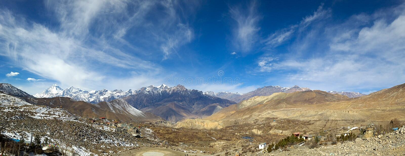 Jarkhot Village in Muktinath Valley. The small village of Jarkhot in the Muktinath Valley in the Mustang region of Nepal royalty free stock images