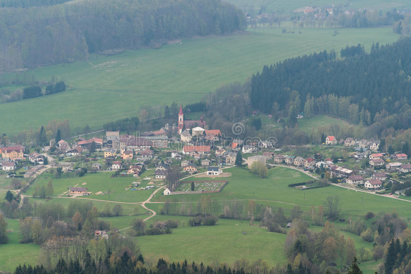 Small village Machov, Czech Republic. A small village Machov, (Czech), view from a distant Bledne Skaly (Poland stock image