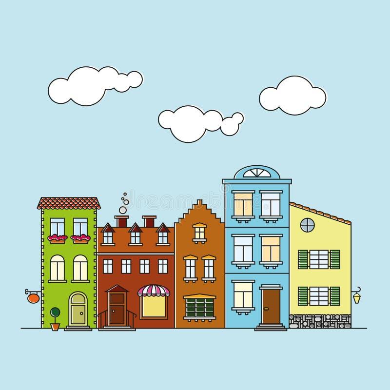 Small village main street buildings colorful facades. Colorful facades of buildings on small village main street vector illustration