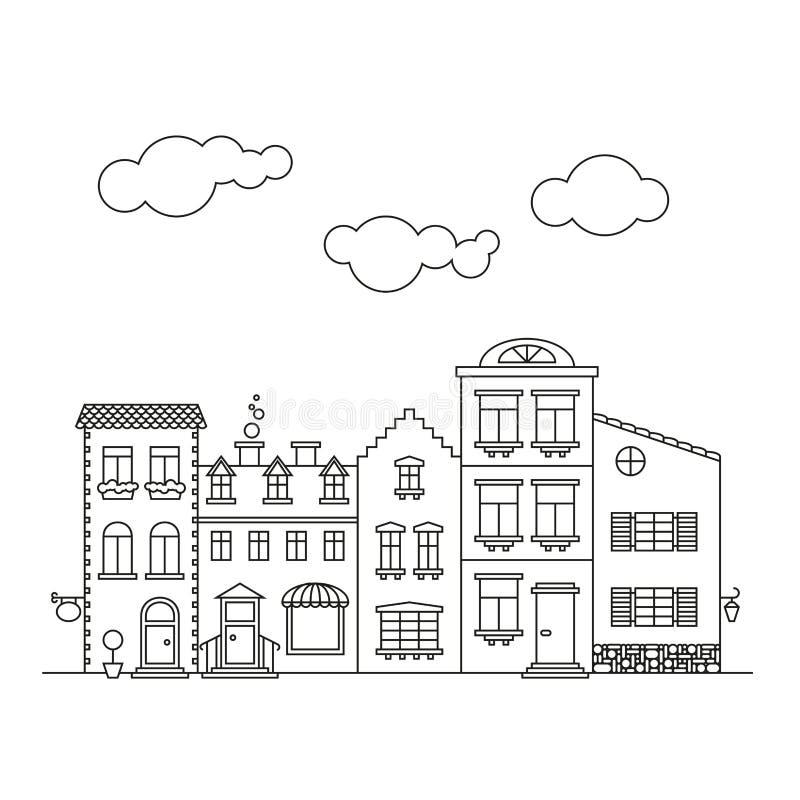 Small village main street buildings facades stock illustration